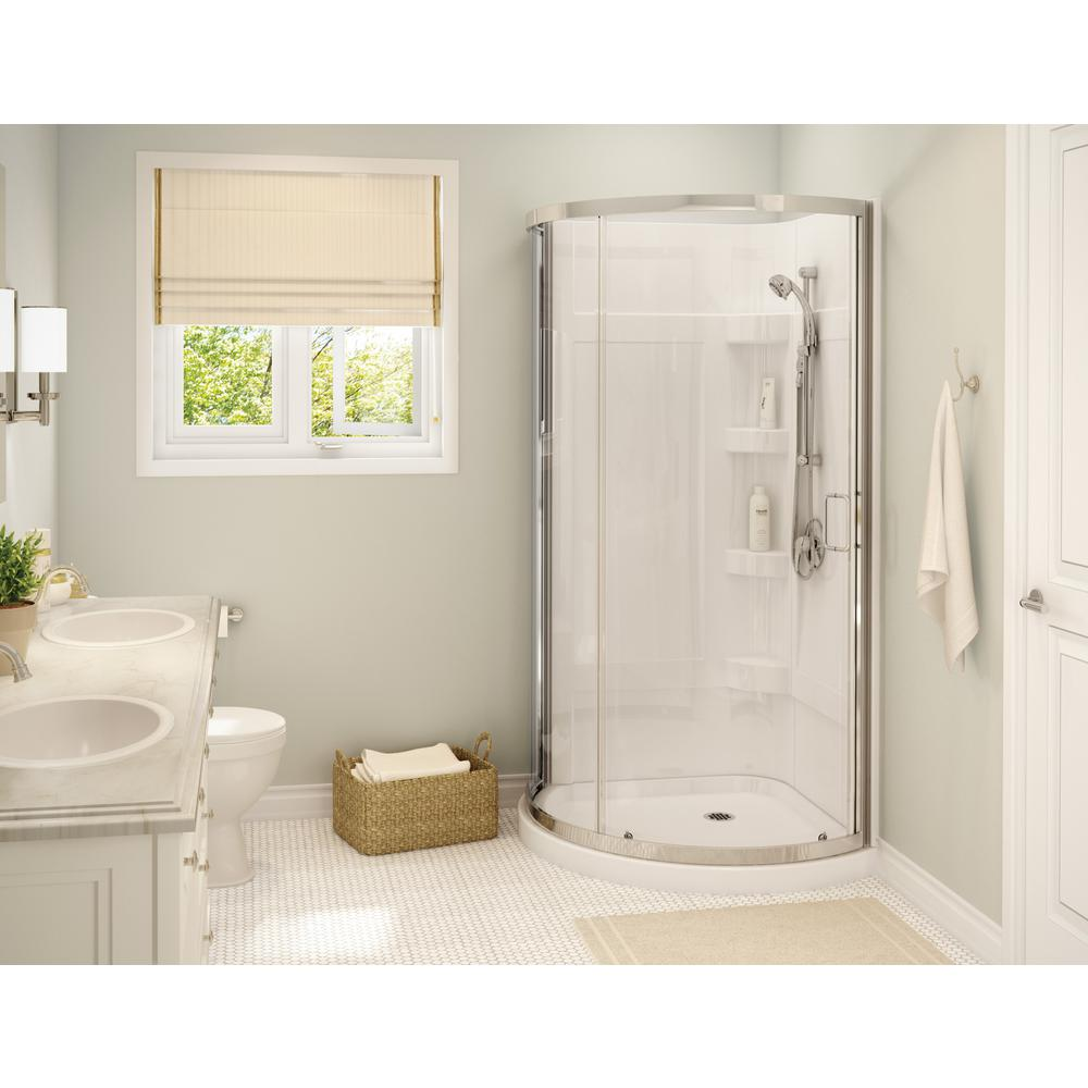Cyrene 34 in.x 76 in. Off-Center Corner Shower Kit w/Semi-Frameless Clear