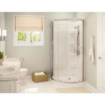 Cyrene 34 in.x 76 in. Off-Center Corner Shower Kit w/Semi-Frameless Clear Sliding Door Base and Wall Kit in White,Chrome