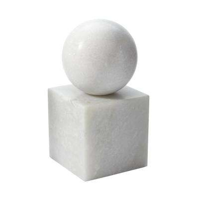 Minimalist 4 in. x 8 in. White Marble Bookend