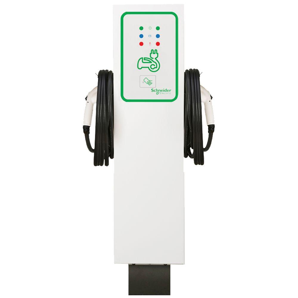 Schneider Electric EVlink 30 Amp Level-2 Outdoor Dual Unit Pedestal Electric Vehicle Charging Station with RFID Access