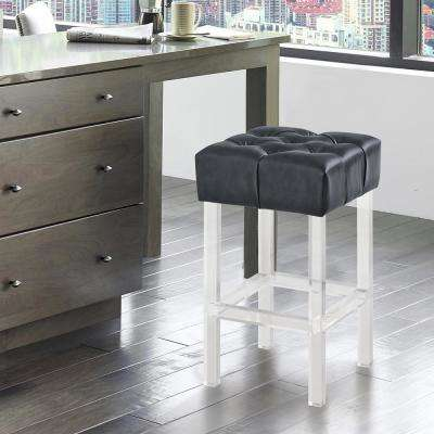 Kara Contemporary 26 in. Grey Faux Leather Counter Height Barstool with Acrylic Legs