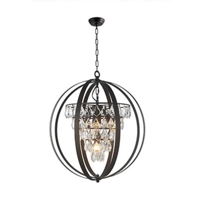 3-Light Antique Brown Globe Chandelier with Clear Crystals