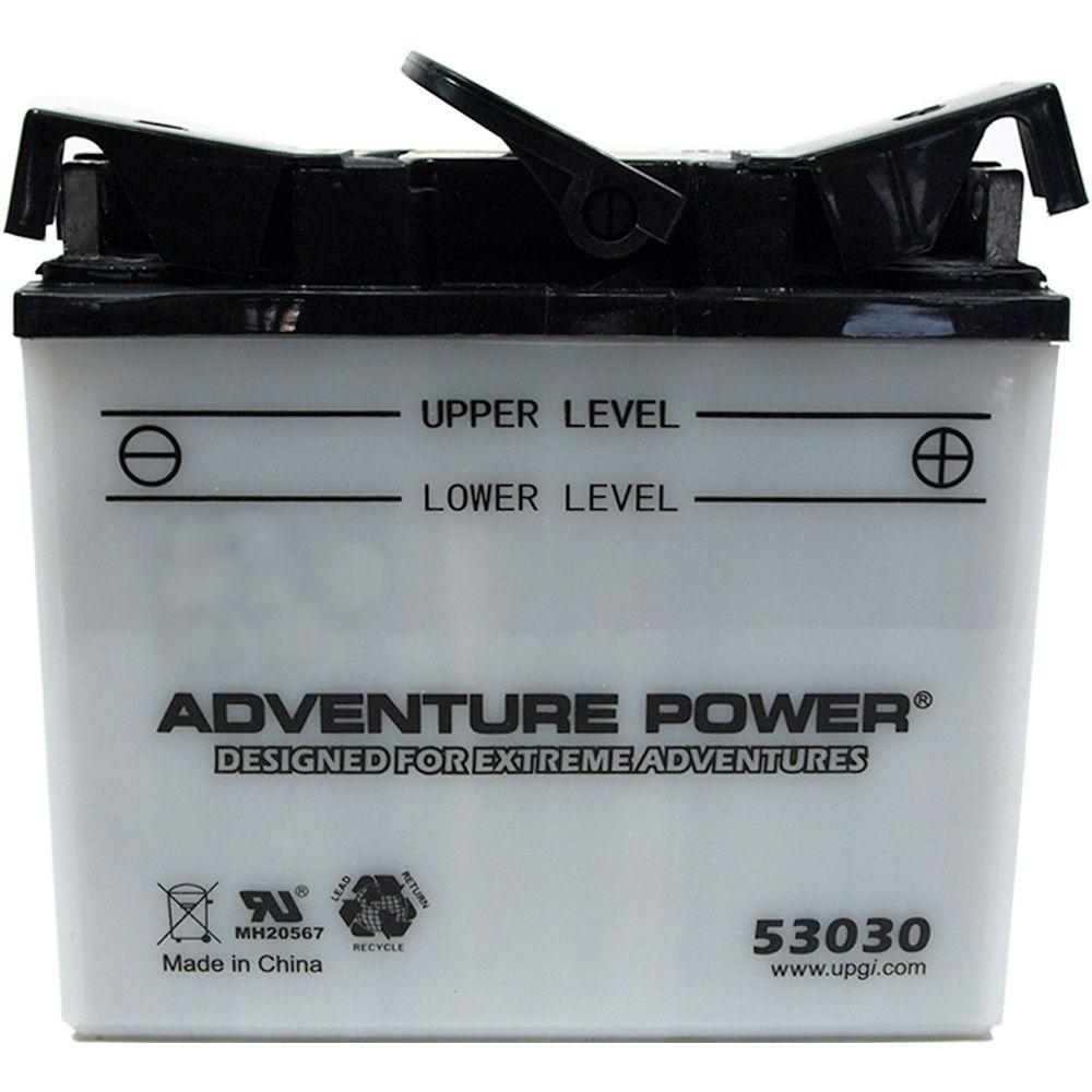 UPG Conventional Wet Pack 12- Volt 30 Ah Capacity J Terminal Battery Adventure Power conventional motorcycle batteries combine time-tested technology with modern manufacturing processes, resulting in unparalleled reliability at an affordable price. Adventure Power batteries feature high cranking amps, superior vibration resistance, and minimal maintenance. Primary Applications: Motorcycle.