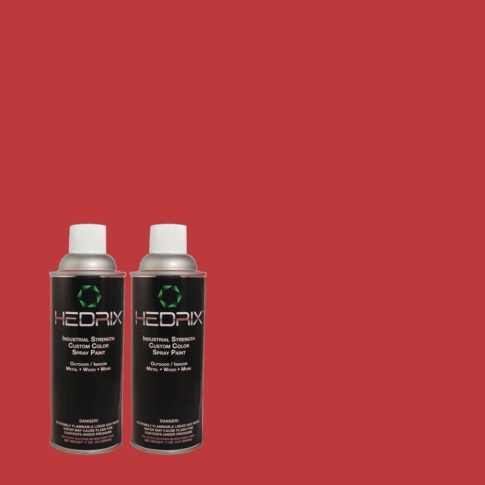 Hedrix 11 oz. Match of 140B-7 Frosted Pomegranate Semi-Gloss Custom Spray Paint (2-Pack)