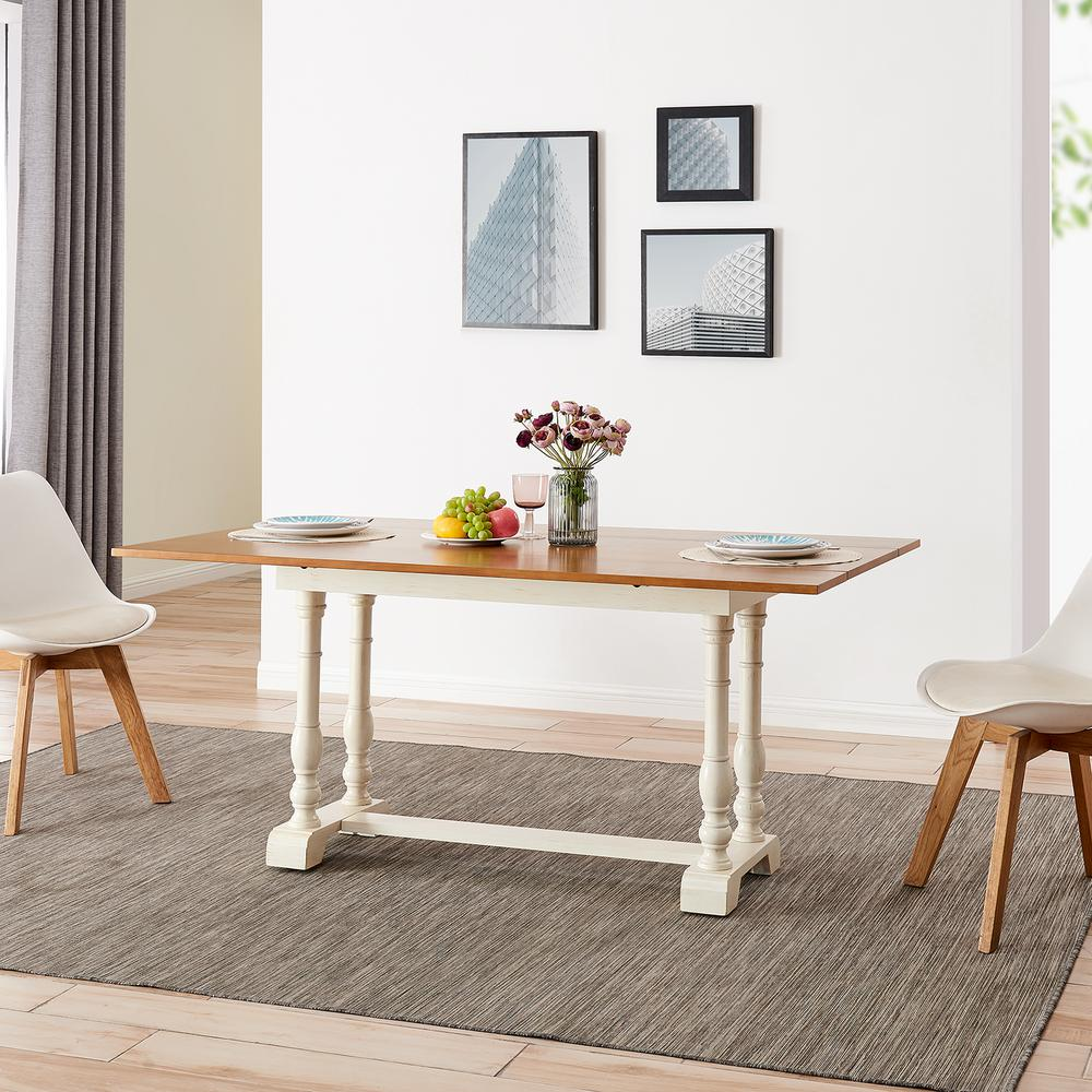 Southern Enterprises Alvera Ivory And Weathered Gray Oak Farmhouse Folding Trestle Console To Dining Table Hd599038 The Home Depot