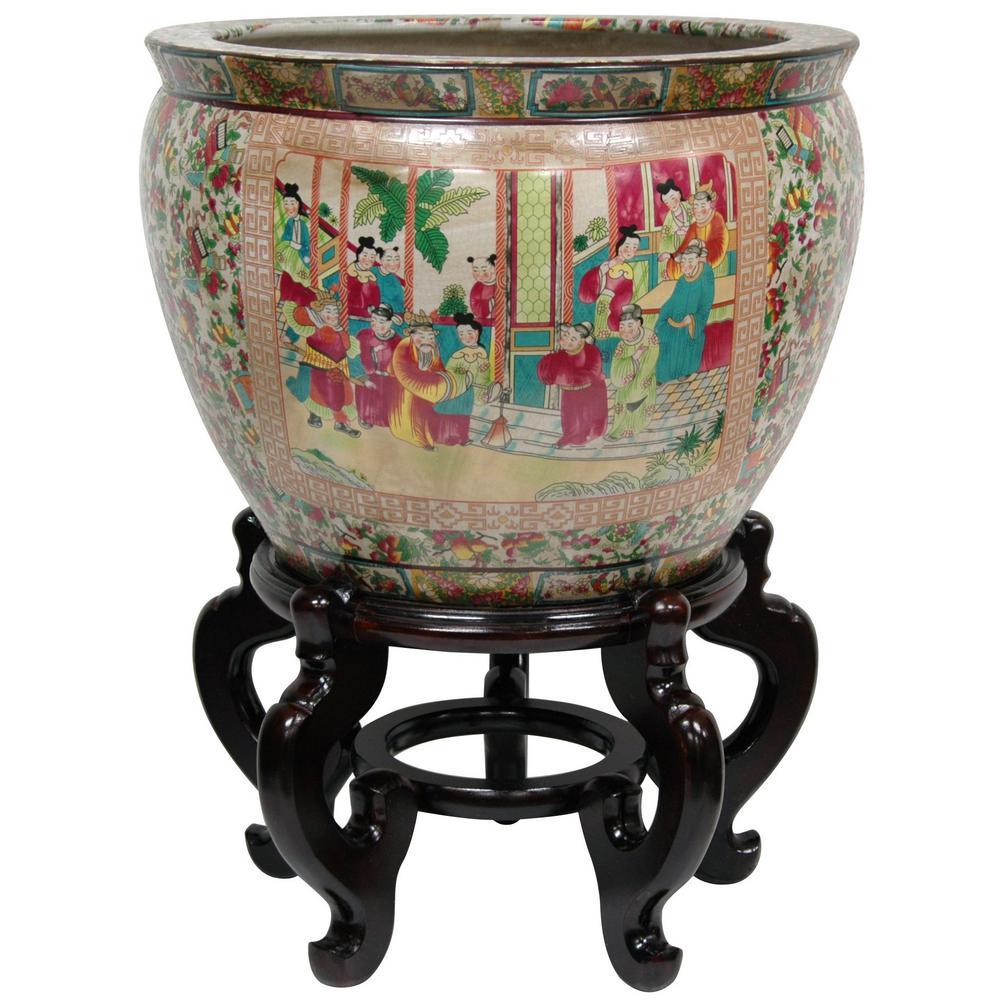 Oriental Furniture 16 in. Rose Medallion Porcelain Fishbowl