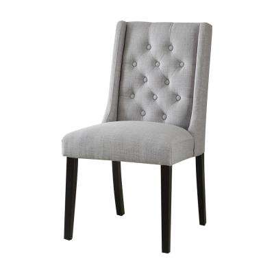 Brenda Light Gray Linen Side Chair