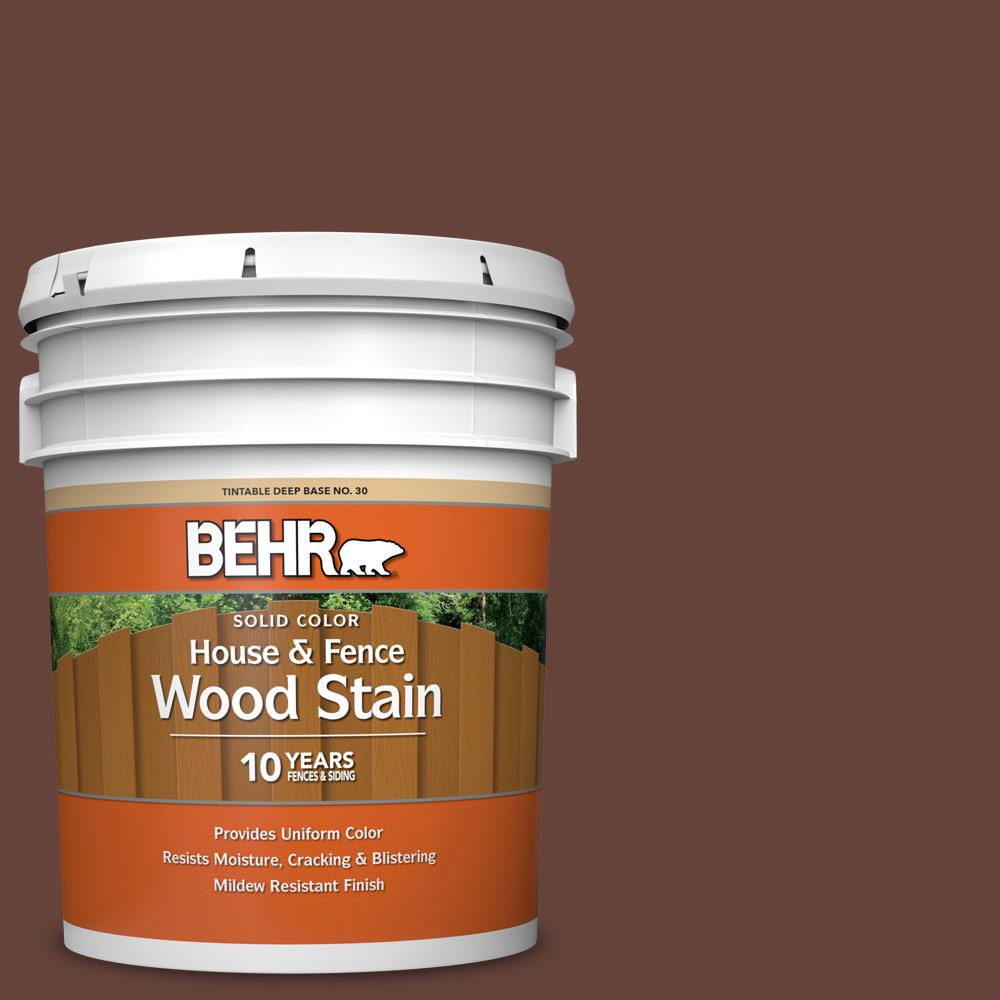 BEHR 5 gal. #SC-117 Russet Solid Color House and Fence Exterior Wood Stain