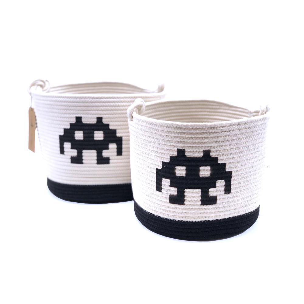 12.75 in. D x 12.75 in. W x 11 in. H Woven Fabric Baskets (Set of 2)