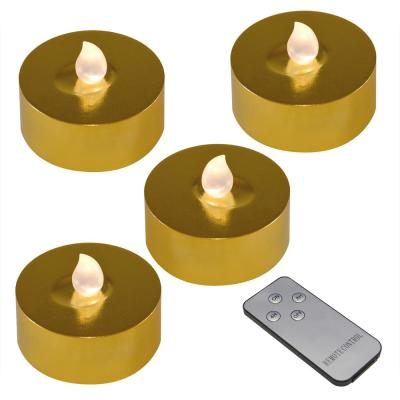 Gold Battery Operated Extra Large Tea Lights with Remote Control and 2-Timers (4-Count)