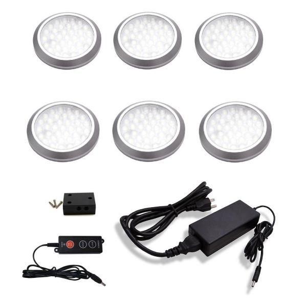 POP Plug In Dimmable LED Stainless Steel 4000K Under Cabinet Ultra Low Profile Puck Light Kit (6-Pack)