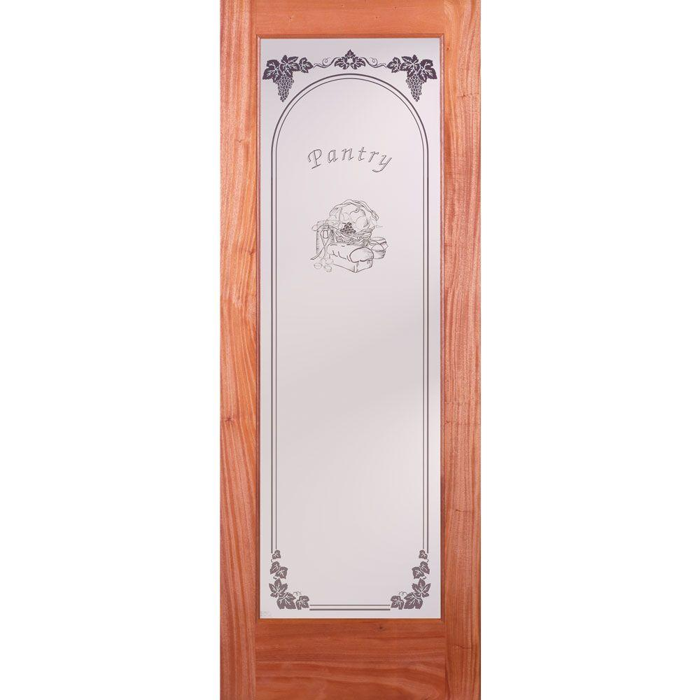 Feather River Doors 24 In. X 80 In. Pantry Woodgrain 1 Lite Unfinished  Mahogany