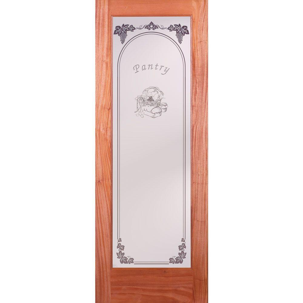 Feather River Doors 30 in. x 80 in. Pantry Woodgrain 1 Lite Unfinished Mahogany Interior Door Slab