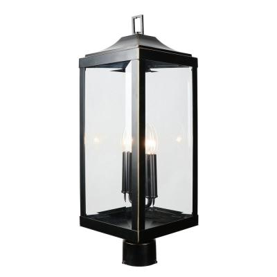 23.4 in. 2-Light Imperial Black Outdoor Post Lantern