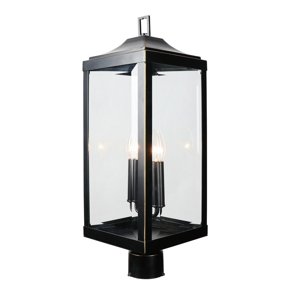 23.4 in. 2-Light Imperial Black Outdoor Post Lantern