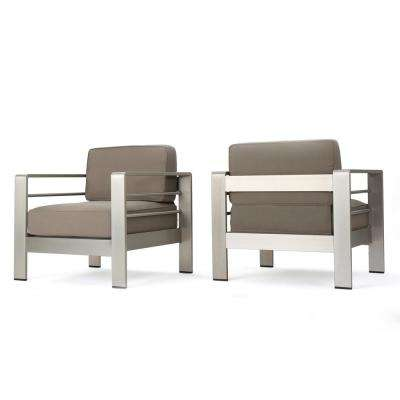 Caius Khaki 2-Piece Aluminum Deep Seating Set with Khaki Cushions