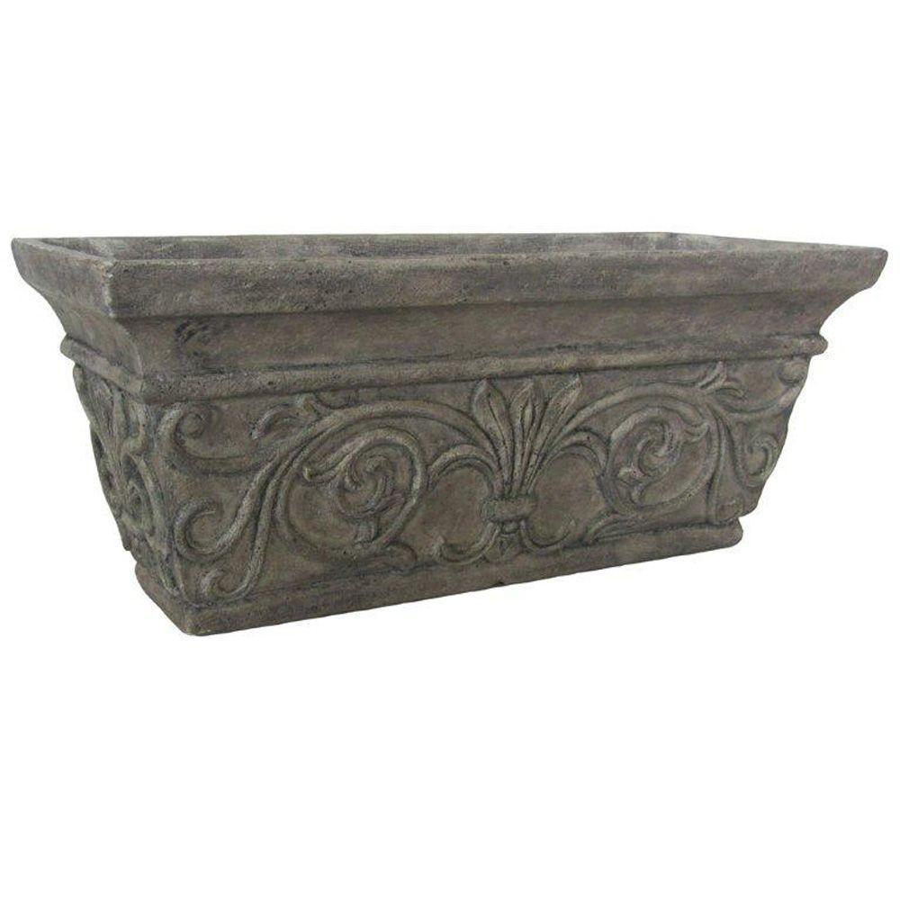 20 in. x 8 in. Special Aged Granite Cast Stone Rectangular Planter