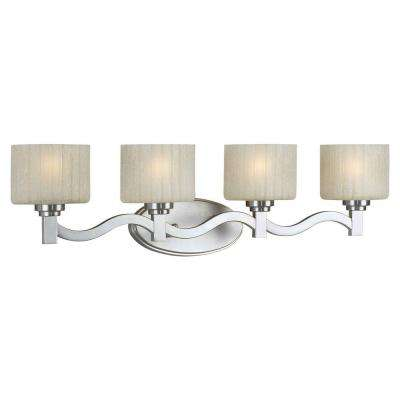 Prana 4-Light Brushed Nickel Bath Vanity Light with Umber Linen Glass