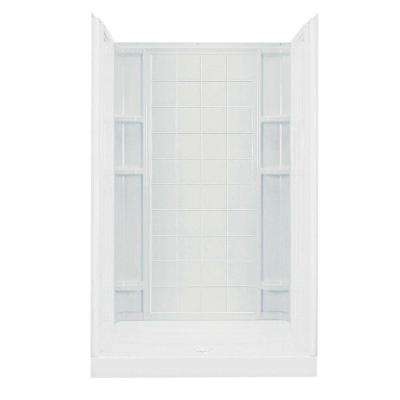 Ensemble 1-1/4 in. x 48 in. x 72-1/2 in. 1-piece Direct-to-Stud Shower Back Wall with Backers in White
