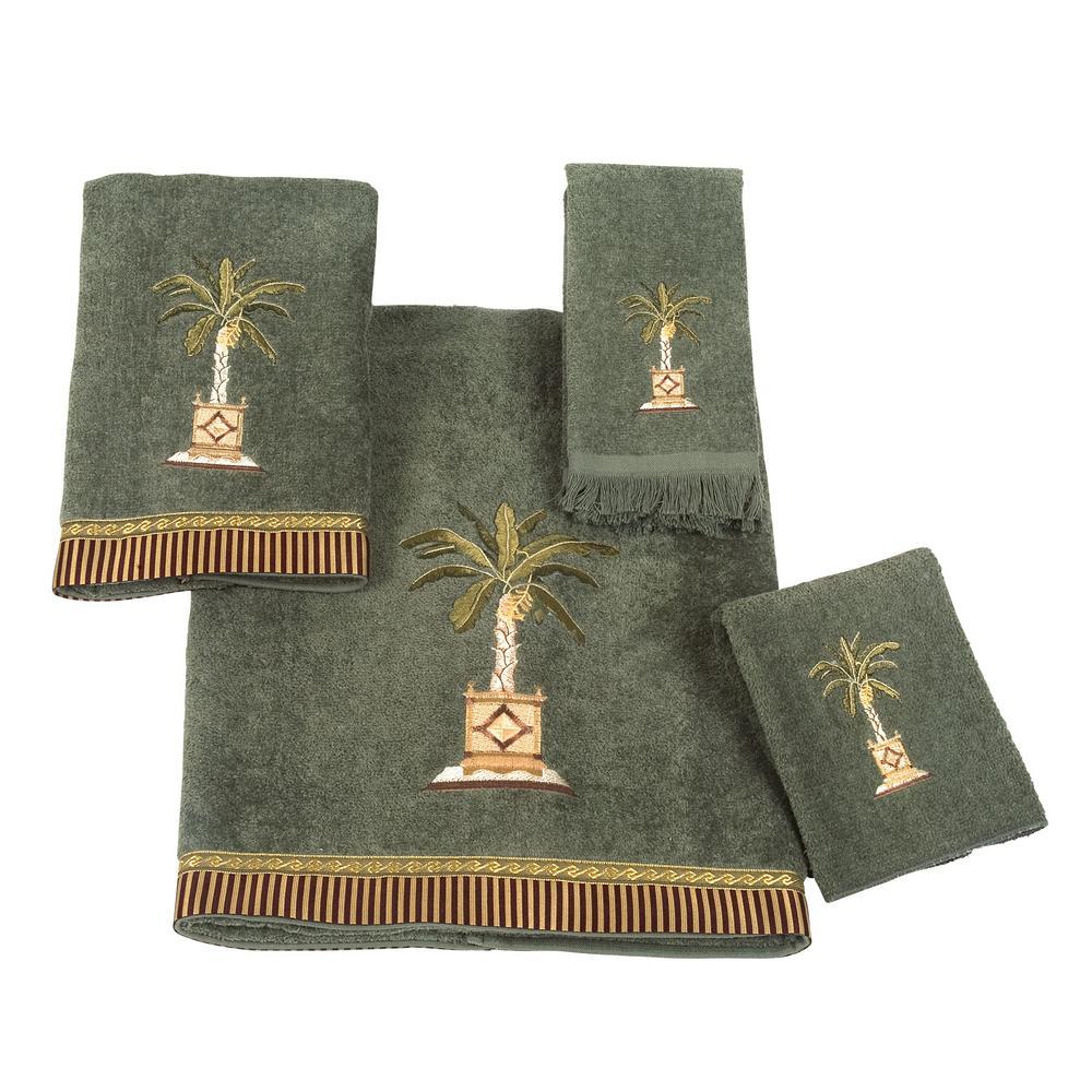 Banana Palm 4-Piece Bath Towel Set in Peridot