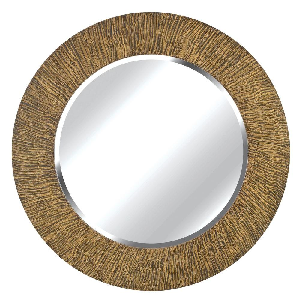 Home Decorators Collection Burl 33 in. Round Wood Framed Mirror