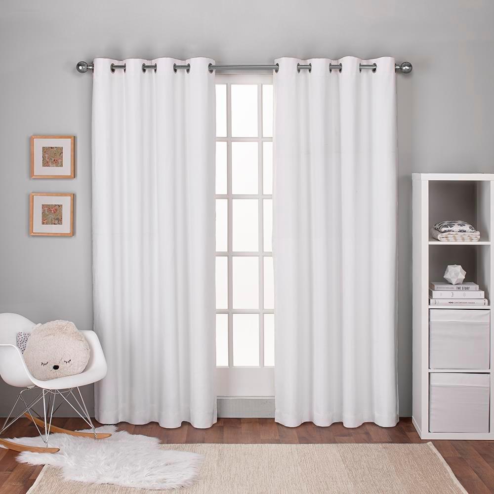 Textured Linen Winter White Thermal Grommet Top Window