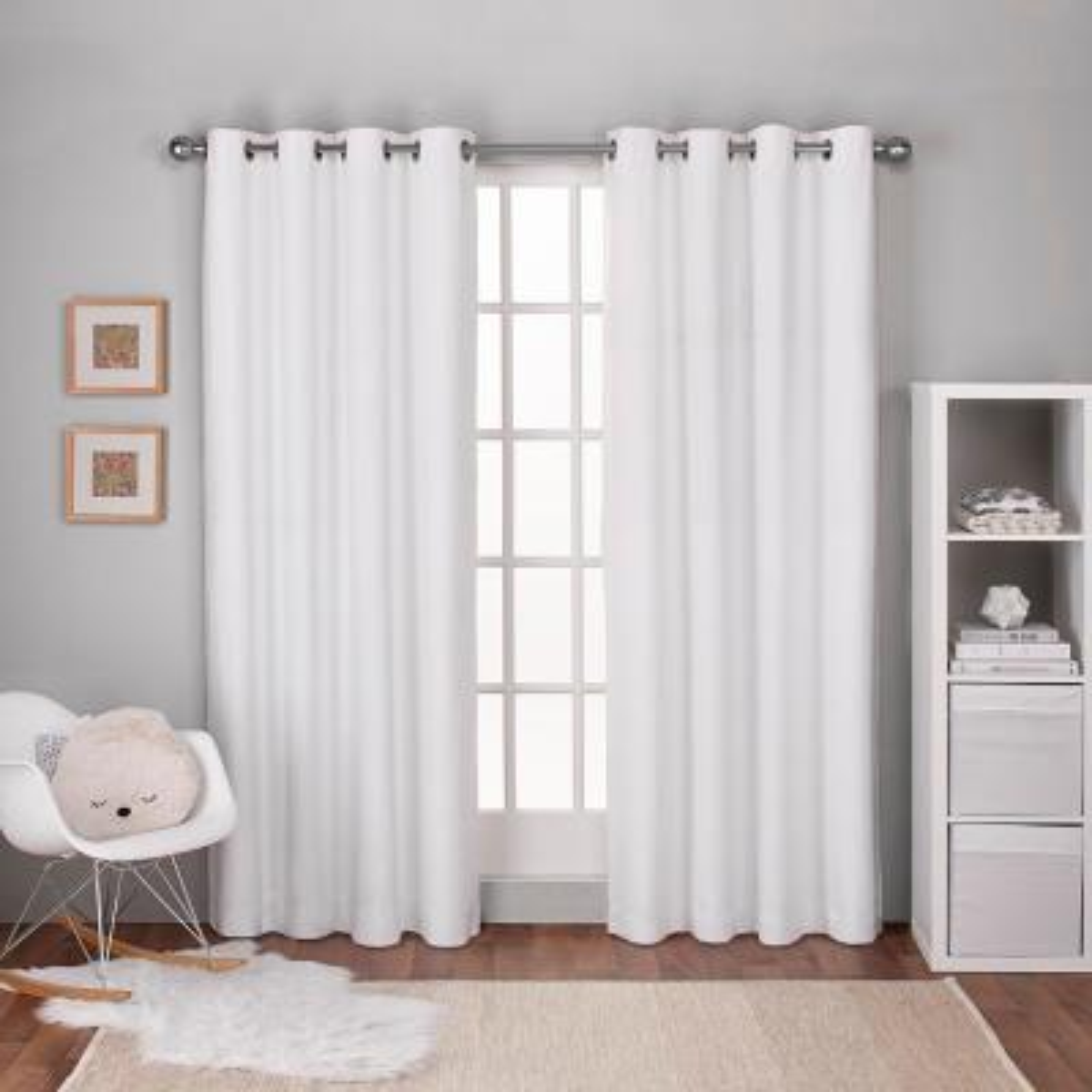 Textured Linen Winter White Thermal Grommet Top Window Curtain