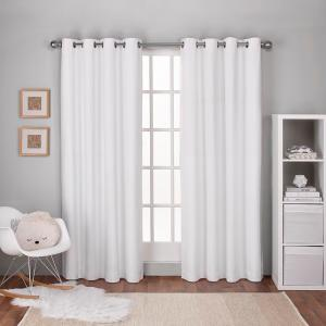 Textured Linen Winter White Thermal Grommet Top Window Curtain
