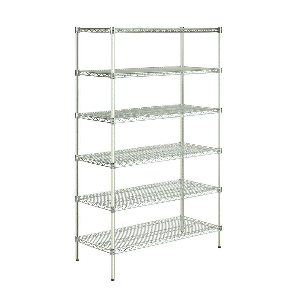 Honey-Can-Do 48 in L x 18 in W x 72 in H 6-Tier Steel Shelving Unit in Chrome (Grey) Create visible, accessible storage space instantly with Honey-Can-Do industrial shelving systems. Brilliant chrome finish and sturdy steel frame make this unit the perfect blend of style and functionality. Durable enough for the home, garage or commercial kitchen; this NSF-rated shelving for food equipment areas including refrigerators, freezers and ware washing areas is capable of withstanding an amazing 600 lbs. per shelf. Adjustable shelves allow you to change the configuration as your storage needs evolve. Combine multiple units to create a customized storage wall. The no-tool assembly allows you to construct in minutes a shelving unit that will last for years.