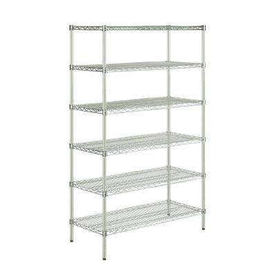 48 in L x 18 in W x 72 in H 6-Tier Steel Shelving Unit in Chrome