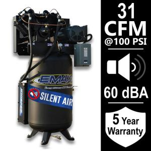 EMAX Industrial Series 80 Gal. 7.5 HP 1-Phase Silent Air Electric Air Compressor by EMAX