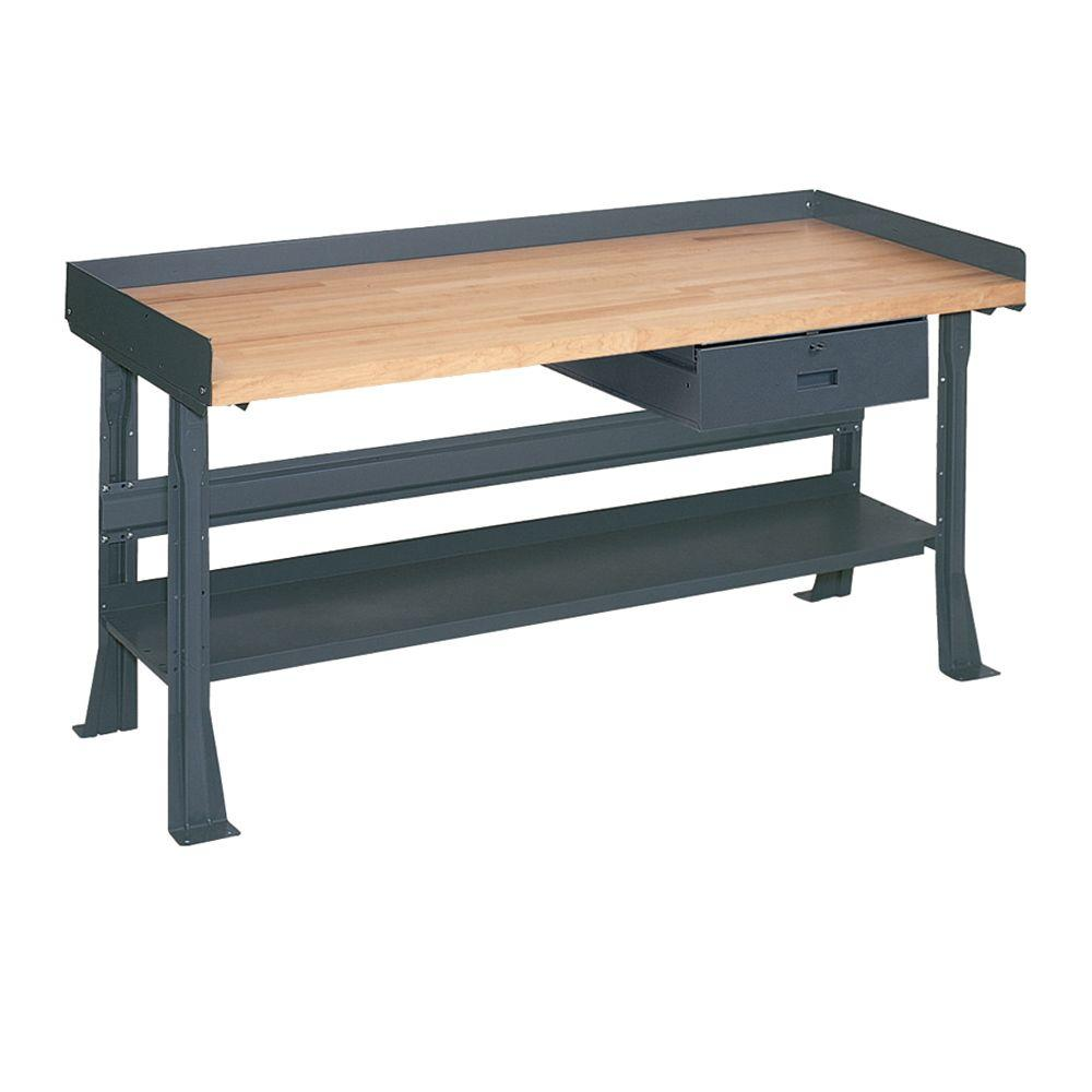 Butcher Block Workbench >> Edsal 34 In H X 60 In W X 30 In D Maple Butcher Block Top Workbench With Shelf