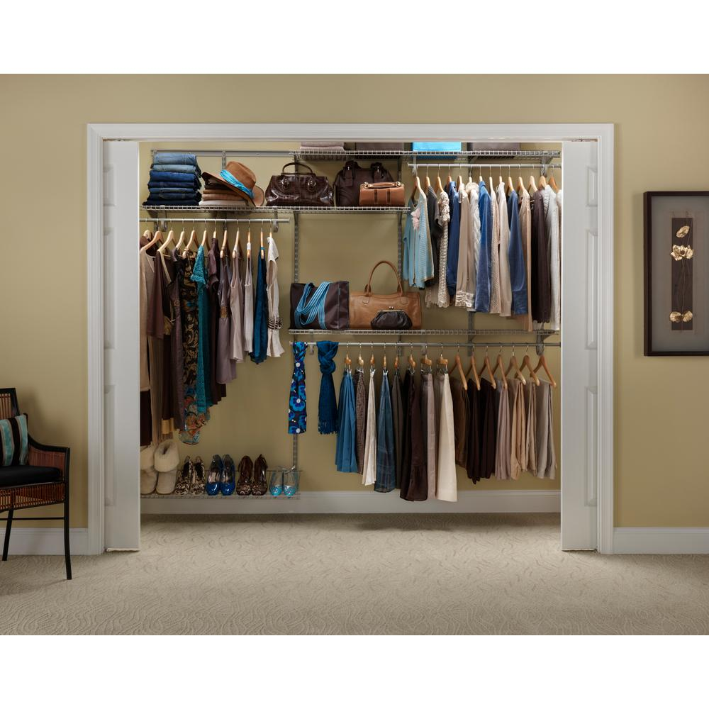 Shelftrack 5 Ft To 8 12 In D X 96 W 78 H Nickel Steel Closet System Organizer Kit