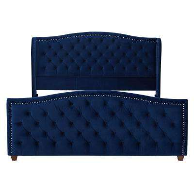 Marcella Navy Blue King Upholstered Bed
