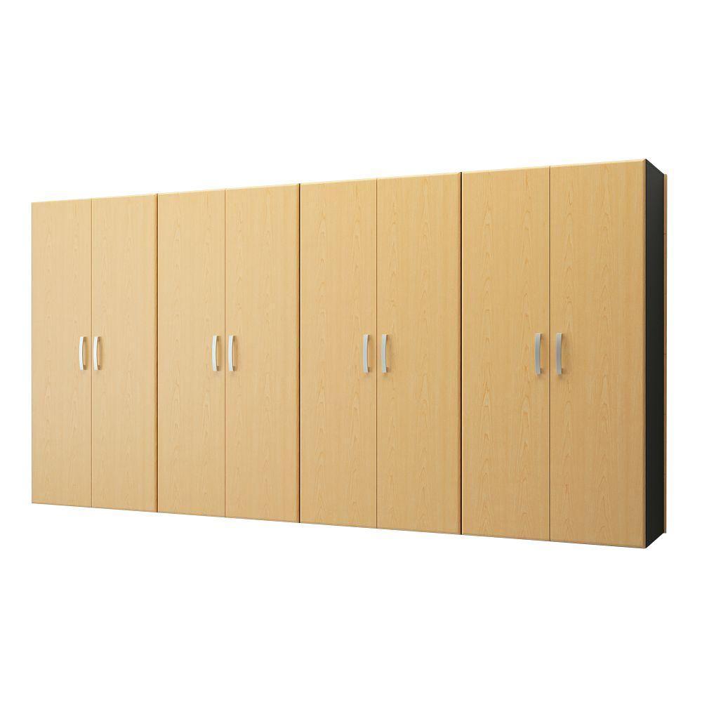 Flow Wall Jumbo 72 in. H x 144 in. W x 21 in. D Wall Mounted Garage Cabinet Set in Maple (4 Piece)