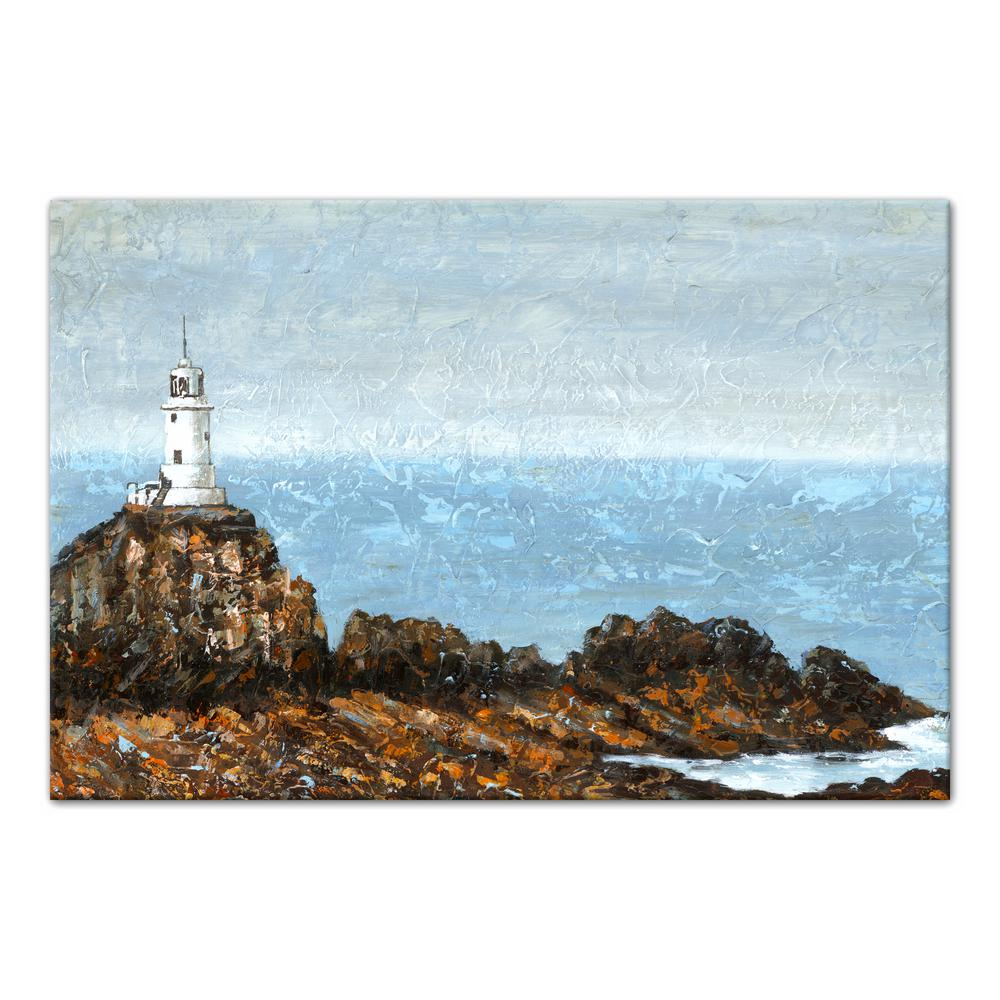 24 in. x 36 in. ''Lighthouse Rocky Coastal Landscape'' Printed