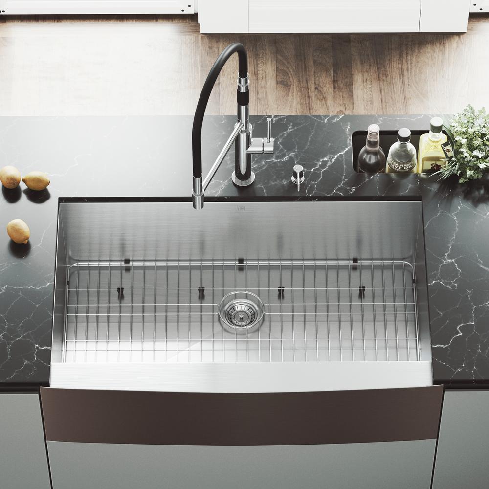 Vigo Camden Farmhouse Single Bowl Kitchen Sink: VIGO All-in-One Farmhouse Apron Front Stainless Steel 36