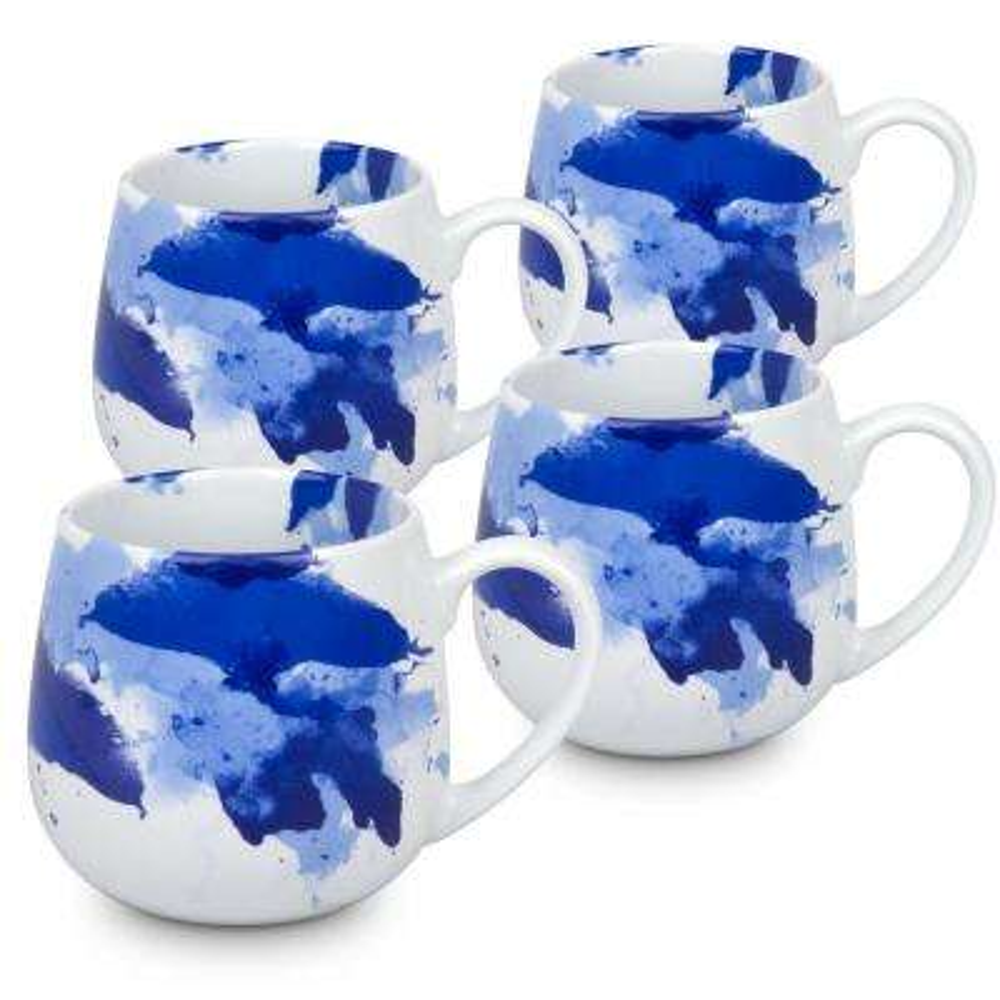 Konitz 4-Piece Seeing Blue Porcelain Snuggle Mug Set