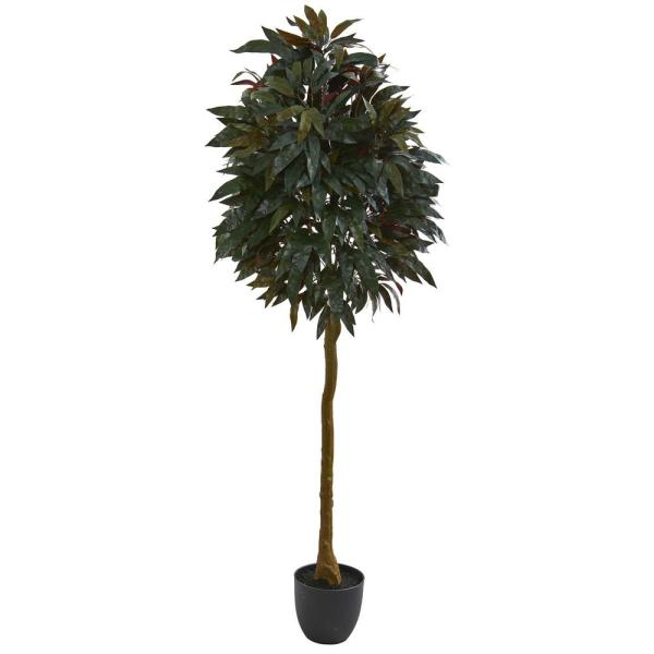 Nearly Natural Indoor 6 in. Red Mango Leaf Artificial Tree