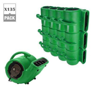 1/3 HP Air Mover for Water Damage Restoration Carpet Dryer Janitorial Floor Blower Fan, Green (135-Pack)