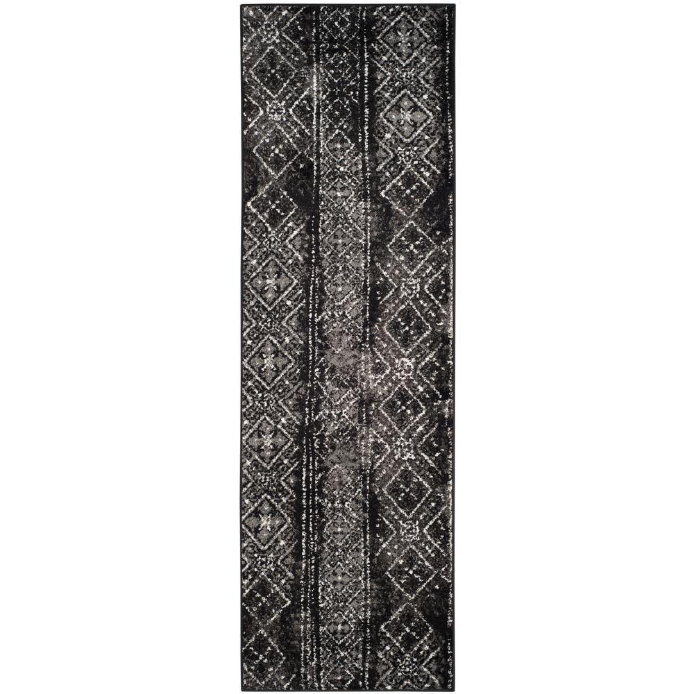 Adirondack Black/Silver 3 ft. x 12 ft. Runner Rug