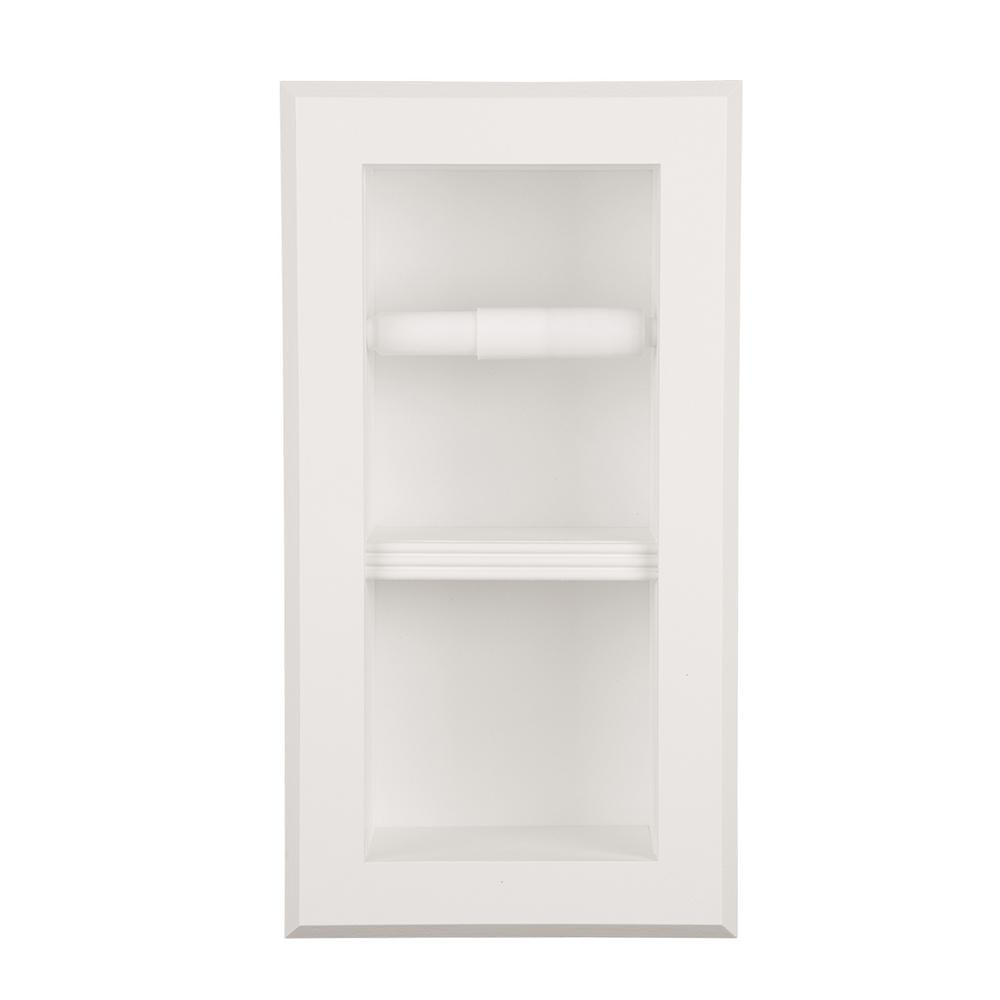 Newton Recessed Toilet Paper Holder 12 In White With Bevel Frame