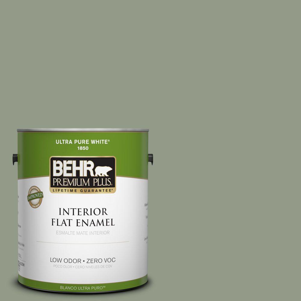 BEHR Premium Plus 1-gal. #430F-4 False Cypress Zero VOC Flat Enamel Interior Paint-DISCONTINUED