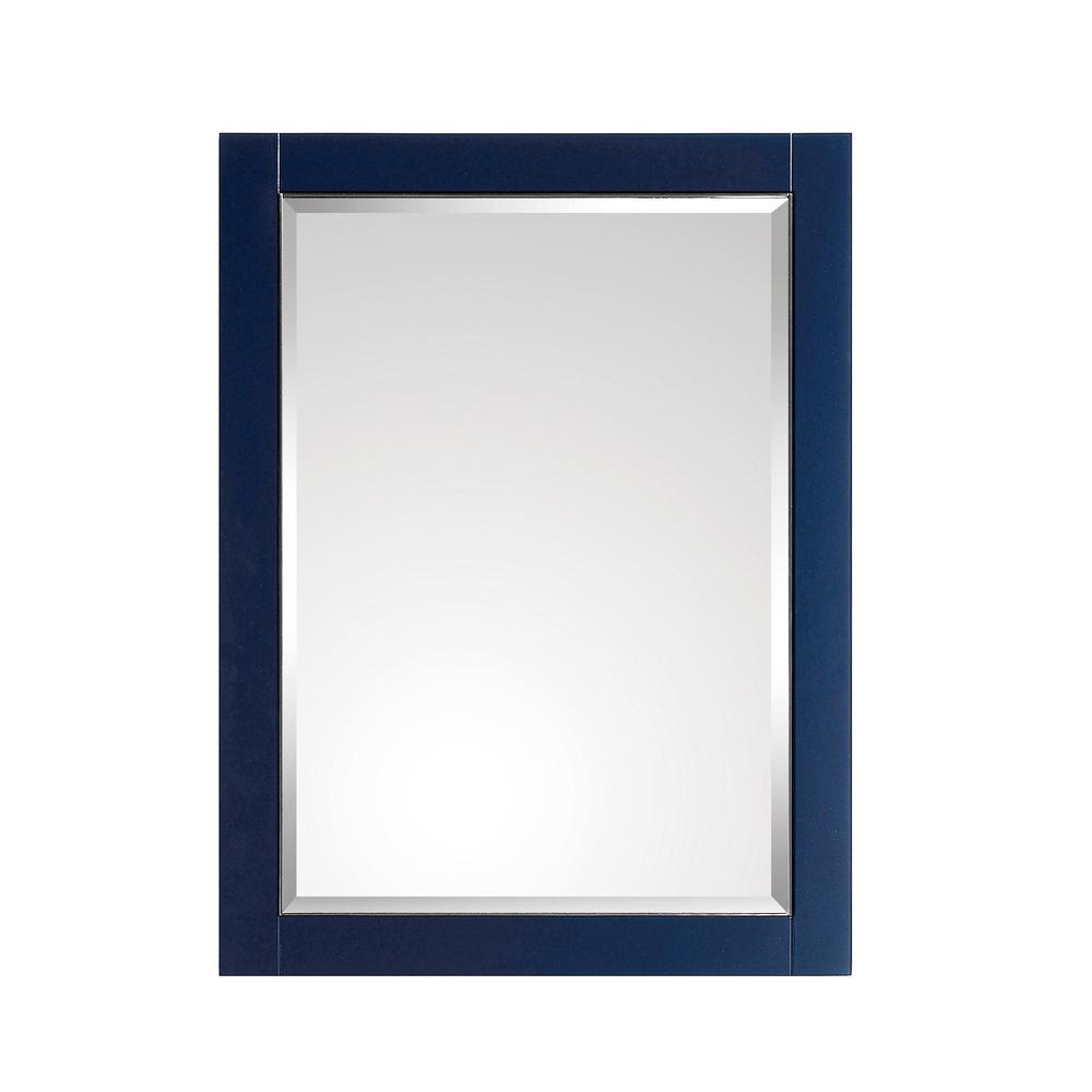 Mason 24 in. W x 32 in. H Framed Rectangular Beveled Edge Bathroom Vanity Mirror in Navy Blue