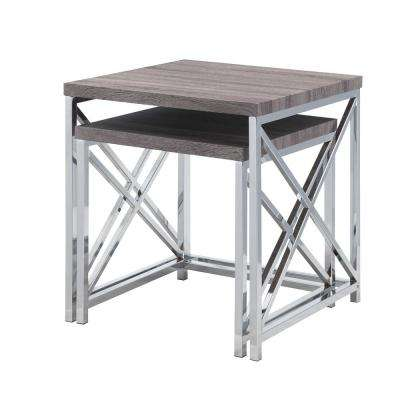 Charleston Washed Gray 2-Piece Nesting Table Set