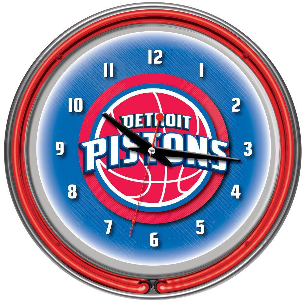 14 in. Detroit Pistons NBA Chrome Double Ring Neon Wall Clock