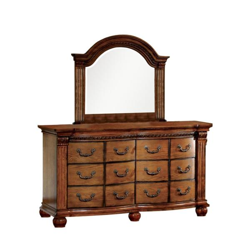 Bellagrand Dresser and Mirror in Antique Tobacco Oak Finish