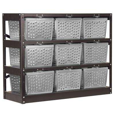 77709 Series 40 in. W x 31 in. H x 13 in. D Assembled Basket Locker in Silver and Black