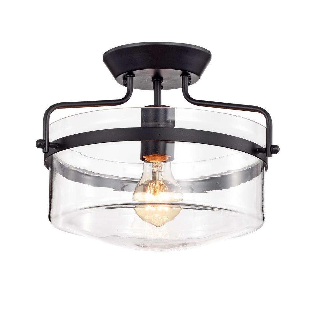 Warehouse Of Tiffany Merwin 1 Light Matte Black Semi Flushmount Ceiling Lamp Cm0181 The Home Depot