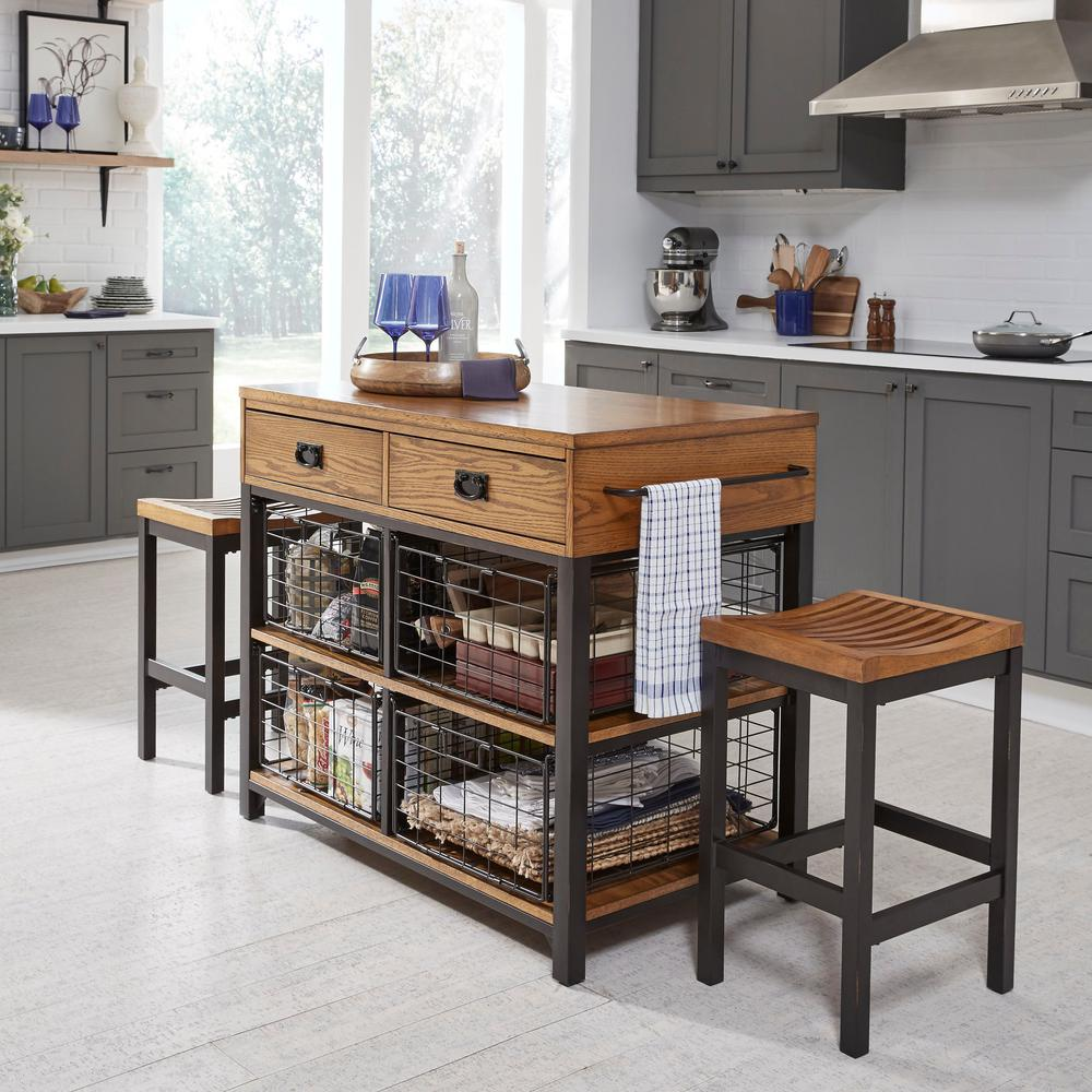 Homestyles Modern Brown Oak Wood Top Two Counter Stool Natural 22371